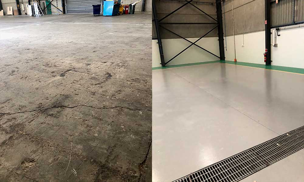 Aged and chipped concrete can be brought to life with highly durable epoxy floor coatings