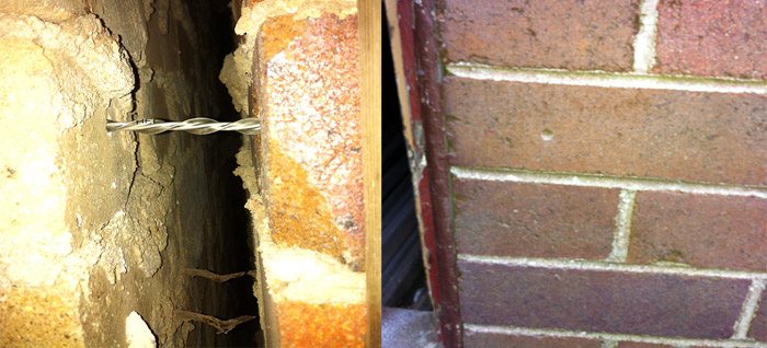 Image showing remedial ties installed above corroded ties and the hole left after installation